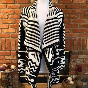 Southwestern Black White Sweater Jacket SM…